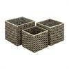 Functional Sea grass Metal Basket, Shades Of Brown, Set Of 3