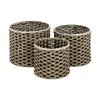 Useful Sea grass Metal Basket, Shades Of Brown, Set Of 3