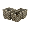 Efficient Sea grass Metal Basket, Shades Of Brown, Set Of 3