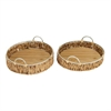 Adorable Wicker Metal Glass Basket, Light Brown, Set Of 2