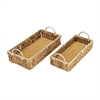 Appealing Wicker Metal Glass Basket, Light Brown, Set Of 2