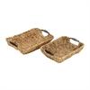 Beautiful Wicker Metal Basket, Light Brown, Set Of 2