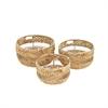 Trendy Wicker Metal Basket, Light Brown, Set Of 3