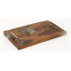 "Benzara Teak Resin Metal Handle Tray 20""W, 3""H"