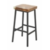 "Benzara Teak Resin Metal Bar Stool 16""W, 30""H"