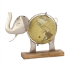 Unique Metal Wood Elephant Globe Nickel, Multicolor
