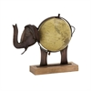 Stunning Metal Wood Elephant Globe Bronze, Multicolor