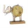 Attractive Metal Wood Elephant Globe Nickel, Multicolor