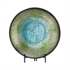42145 Adorable Metal Mosaic Blue Platter With Easel, Multicolor