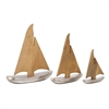 Trendy Aluminum Wood Sailboat, Silver, Brown, Set Of 3