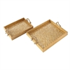 Attractive Wood Mosaic Gold Rope Tray, Gold, Set Of 2
