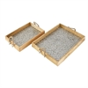 Outstanding Wood Mosaic Silver Rope Tray, Silver and Natural, Set Of 2