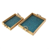 Exceptional Mosaic Turquoise Rope Tray, Blue, Natural, Set Of 2