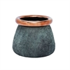 Elegant Ceramic Vase, Grey And Copper