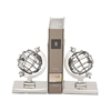 Appealing Aluminum Globe Bookend Pair, Chrome Silver