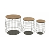Benzara Set Of 3 Magnificent Metal Wood Baskets
