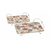 Benzara Marvelous Set Of 2 Wood Metal Tray