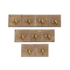 Charming Wood Metal Wall Hook, Natural Wood & Gold, Set Of 3