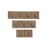 Wood Metal Wall Hook, Natural Wood, Silver, Set Of 3
