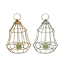 Classy Metal Glass Lantern Assorted 2, Gold and Silver