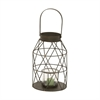 Fancy Metal Glass Lantern, Black