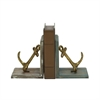 Classy Wood Metal Anchor Bookend Pair, Natural Wood & Gold