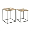 Functional Wood Metal Accent Table, Shades Of Brown, Set Of Two