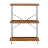 Functional Metal Wood 3-Tier Shelf, Silver, Light Brown