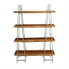 Efficient Wood Metal 4-Tier Shelf, Silver, Light Brown