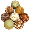 Benzara Natural Ball S/8 Set Of Eight Bamboo Wood Balls