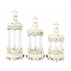 Benzara Set Of 3 Glass Polystone Canister Set With Flower Print