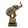 Benzara Brown Polystone Elephant On Ball