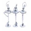 Benzara Beautiful And Mesmerizing Silver Polystone Ballet Dancer Assorted Set Of Three