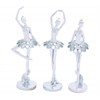 Benzara Dazzling And Beautiful Silver Polystone Ballet Dancer Assorted Set Of Three