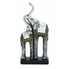 Showpiece Double Polystone Elephant Attached With Ceramic Teeth And Mirror Mosaic Rug Design On Their Back