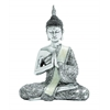Benzara Poly Stone Sitting Buddha Assorted With Silver Finish