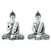 Benzara Poly Stone Spiritual Sitting Buddha Assorted Set Of Two