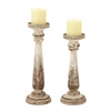 "Wood Candle Holder S/2 13"", 15""H"