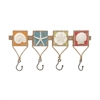 Trendy Wood Metal Ps Wall Hook, Multicolor