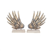 Artistic Metal Wood Sculpture, Light Golden, Set Of 2