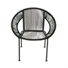 Splendid Metal Plastic Rattan Chair, Black and Brown