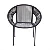 Comfortable Metal Plastic Rattan Chair, Black