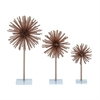 Gorgeous Metal Acrylic Sculpture, Light Gold, Set Of 3