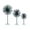 Trendy Metal Acrylic Sculpture, Oxidized Silver, Set Of 3