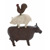 Traditional American Farm Art Trio Of Poly Stone Cow, Pig And Rooster
