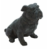 Antique Poly Stone Sitting Bulldog Statue