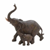 Trumpeting Mother And Baby African Elephant Poly Stone Statue