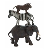 Benzara Poly Stone African Animals Stack Of Elephant, Zebra And Lion