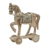 "Benzara Attractive Wood Metal Horse 10""W, 14""H"