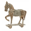 "Silver/White Wood Metal Horse 18""W, 20""H"
